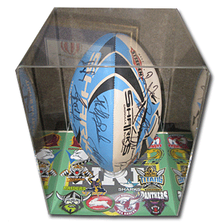 Memorabilia NRL Football in Display case